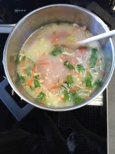 Caldo de pollo con verduras.